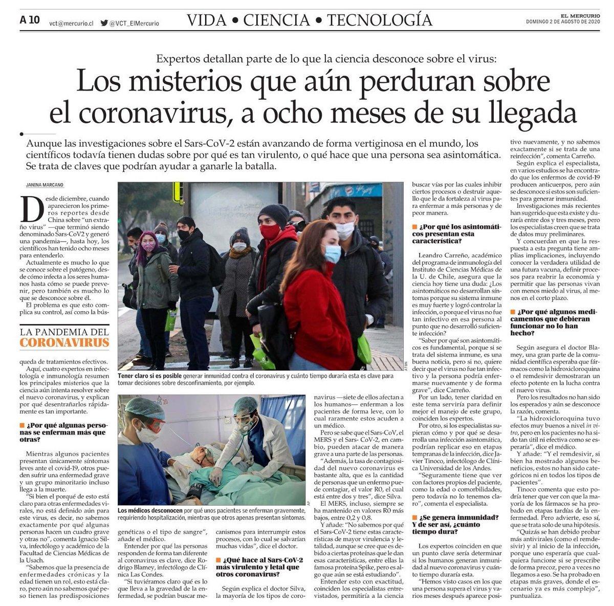 El dr. Rodrigo Blamey, infectólogo de @cliniclascondes se refiere hoy en @ElMercurio_cl a los aspectos que aún se desconocen del coronavirus. Te invitamos a leer la nota acá. https://t.co/SCbUytowCL