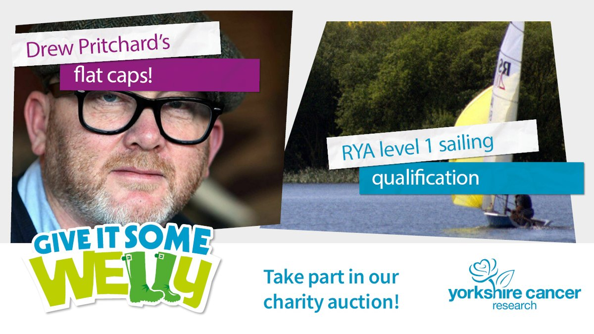 There's just one hour left to take part in our #GiveItSomeWelly auction! 💙  Help raise money to fund life-saving research, right here in Yorkshire.  From an #RYA qualification to @DrewPritchard's flat caps, there's plenty to bid on!   👉