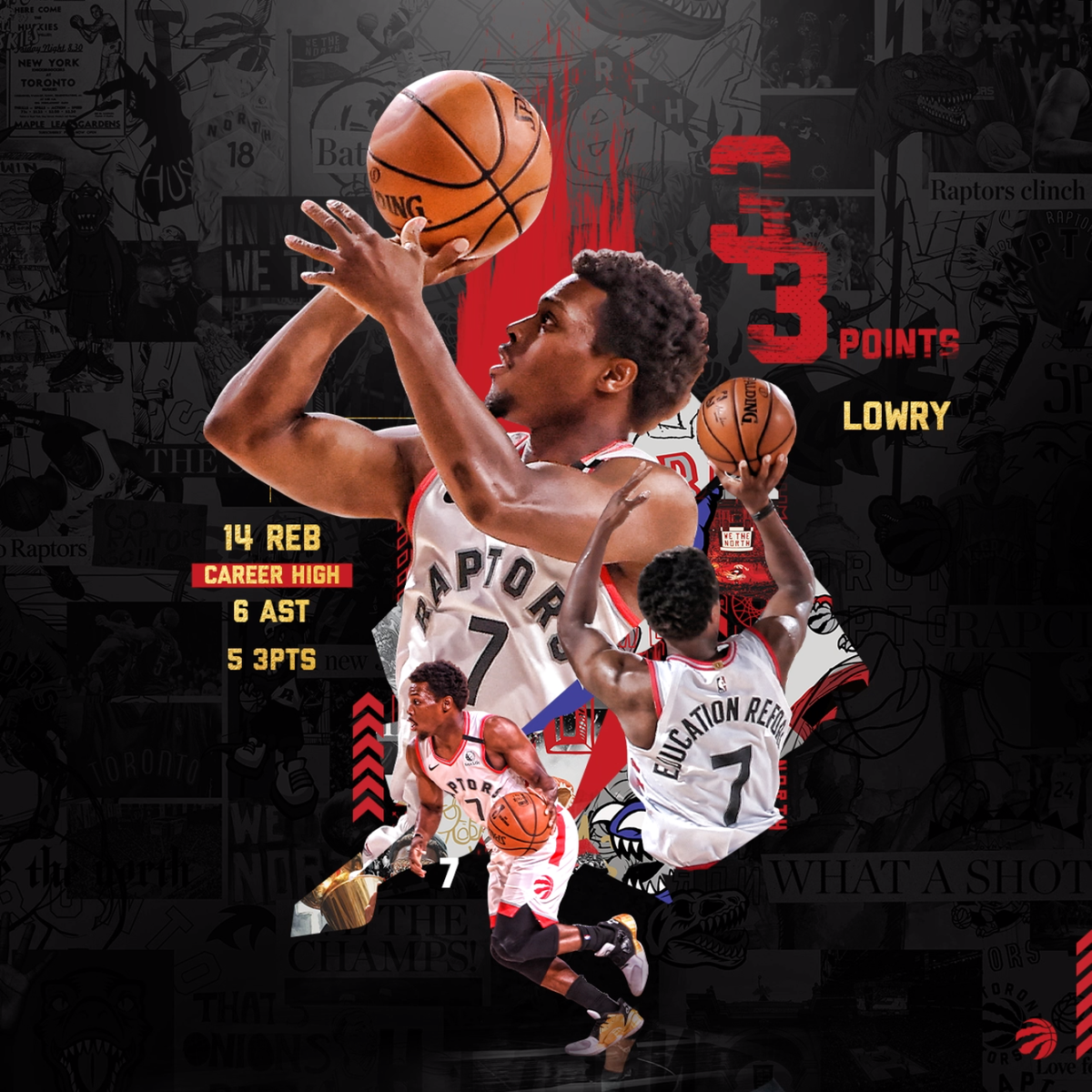 ICYMI, Kyle Lowry is very good at basketball.   33 Pts   14 Rebs (Career-high)   6 Ast   5 3pm https://t.co/Tmx0x5vdY2
