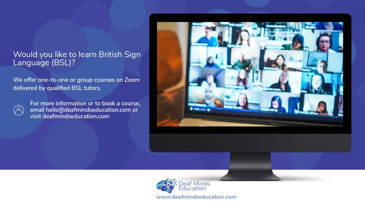 Did you know we run #BSL (British Sign Language) #lessons on #Zoom, either on a one-to-one basis or in groups?  If you'd like more information email hello@deafmindseducation.com and don't forget to #share or #tag anyone you know who might be interested!pic.twitter.com/9hfRusPaLr