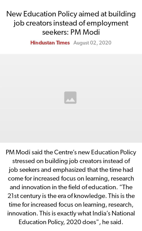 New Education Policy aimed at building job creators instead of employment seekers: PM Modi https://www.hindustantimes.com/india-news/new-education-policy-aimed-at-building-job-creators-instead-of-employment-seekers-pm-modi/story-V7XWe3j0DqWaNUVGOHI4bO.html…  via NaMo Apppic.twitter.com/aazMiHbiIj