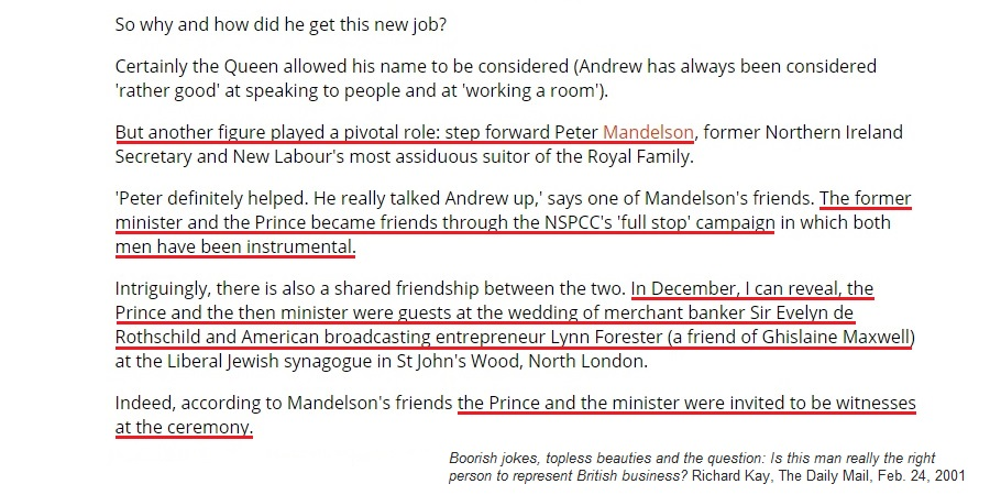 Lord Mandelson – who was close friends with Jeffrey Epstein and Prince Andrew – never met a Rothschild he didn't like.Lord Mandelson reportedly rents a home from his friend Nat Rothschild, who lives on the Stowell Park estate adjoining chez-Mandelson. https://www.dailymail.co.uk/news/article-2647971/SEBASTIAN-SHAKESPEARE-Mandys-modest-home-rented-Rothschild.html