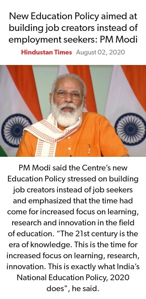 New Education Policy aimed at building job creators instead of employment seekers: PM Modi https://www.hindustantimes.com/india-news/new-education-policy-aimed-at-building-job-creators-instead-of-employment-seekers-pm-modi/story-V7XWe3j0DqWaNUVGOHI4bO.html…  via NaMo Apppic.twitter.com/aHOIaDIOUJ