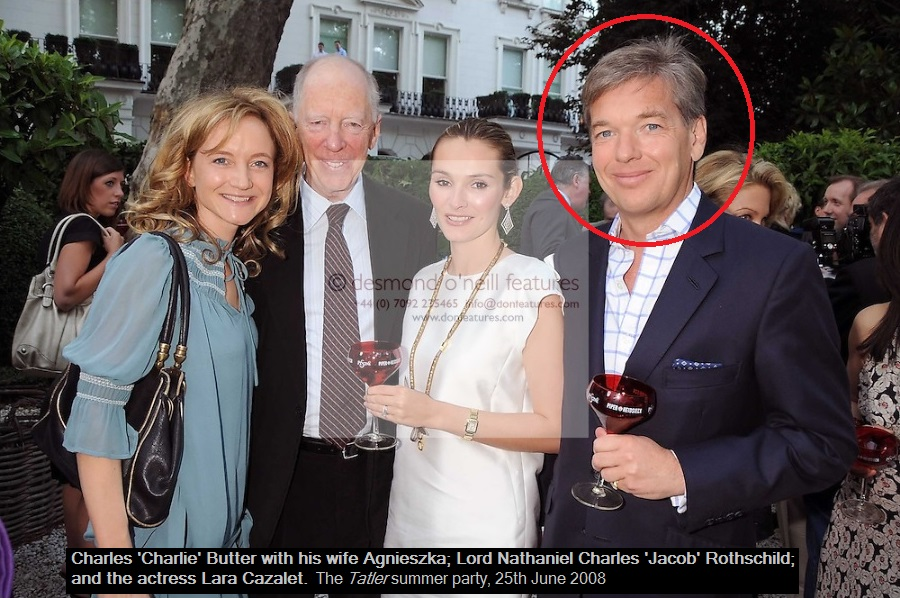 """Charles Butter – in Ghislaine's Black Book and friends with Epstein's former """"girlfriend"""" Shelley Lewis – enjoys time with Lord Jacob Rothschild."""