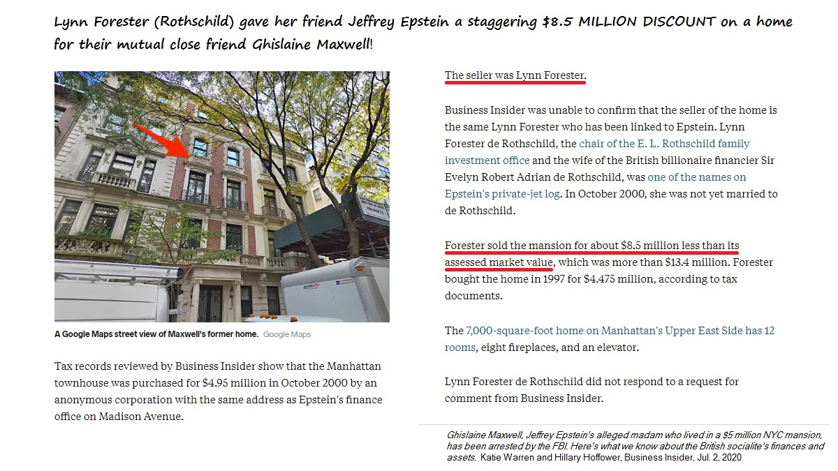 Lady Lynn Forester de Rothschild just couldn't seem to do enough for her dear friends Jeffrey Epstein and Ghislaine Maxwell.