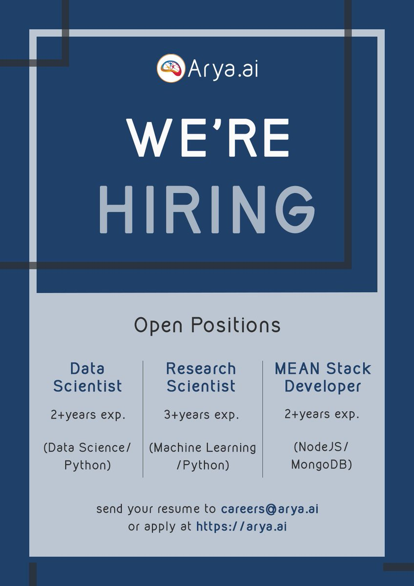 We are #hiring for multiple roles. Please drop your CVs at careers@arya.ai  #AryaAI #DataScientist #ArtificialIntelligence #fintech pic.twitter.com/A9ZcCEUWJa