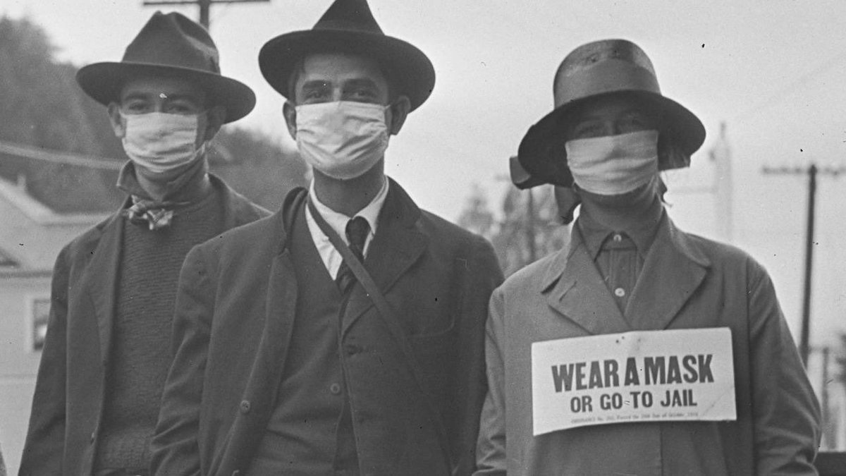 """Stephane Puchois on Twitter: """"1918, Spanish Flu. """"Wear a mask or go to jail""""… """""""