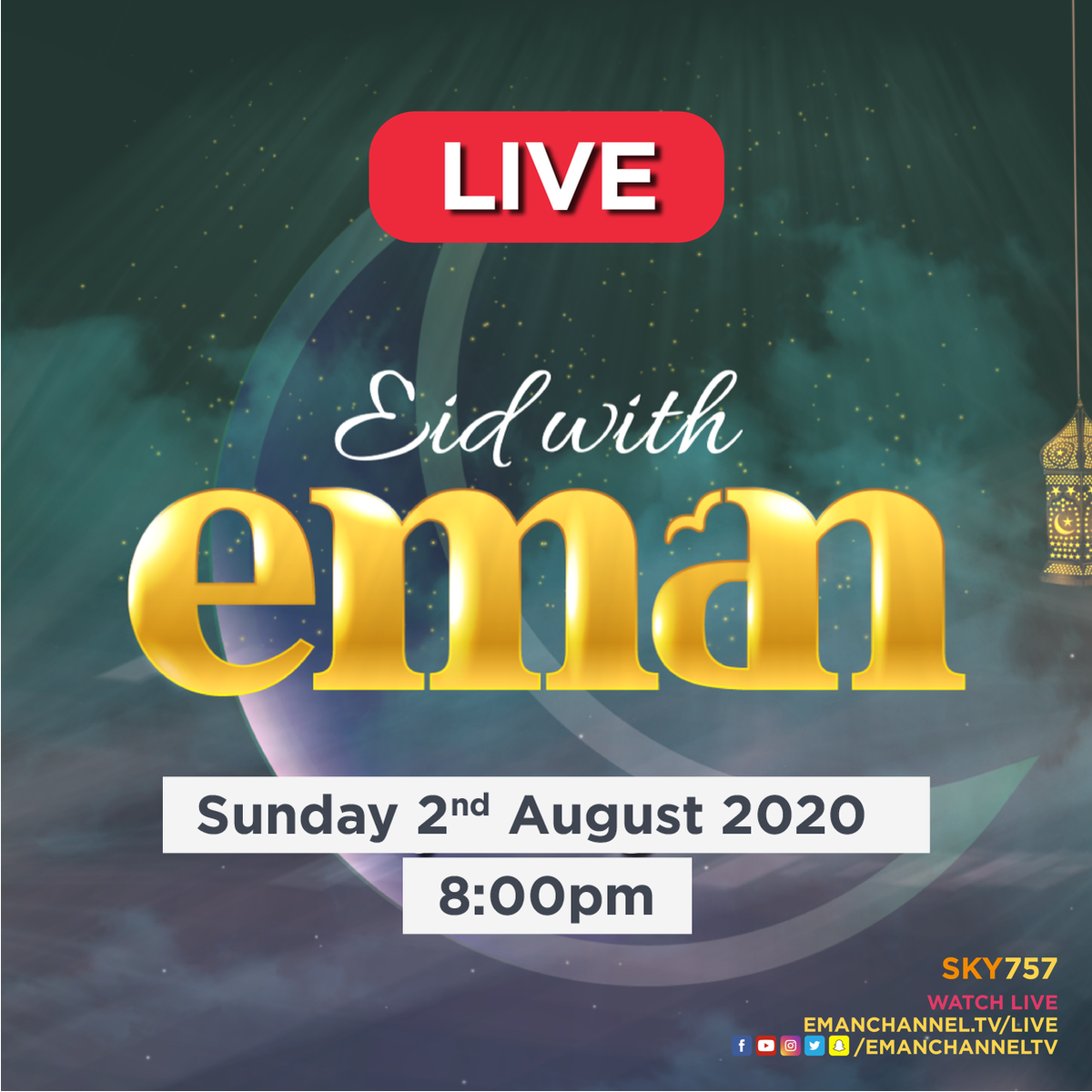 Our Eid with Eman show is going LIVE at 8pm tonight! Make sure to tune in for some fun filled light hearted entertainment!  #Eid #Hajj https://t.co/ez58BLhgmz