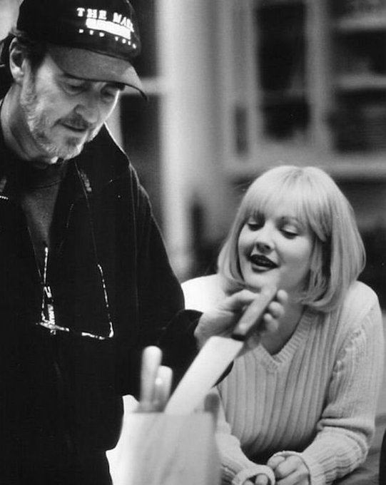 and happy birthday to Wes Craven on the set of with Drew Barrymore!