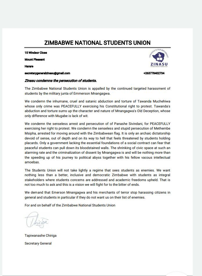 The cruel abduction and torture of Tawanda Muchehiwa and the senseless arrest of Panashe and Methembe is a direct attack on all students. All we ask for is a better Zimbabwe where students concerns are addressed and academic freedom upheld Is that too much? @Mathuthu