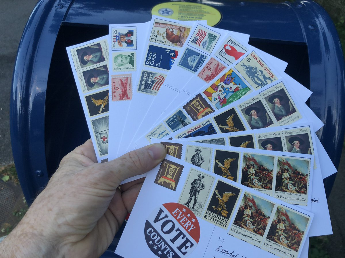 I have entirely too much fun with #vintage stamps on #PostcardsToVoters  Ten more today to Lake County, Florida.pic.twitter.com/hzqaNehglw