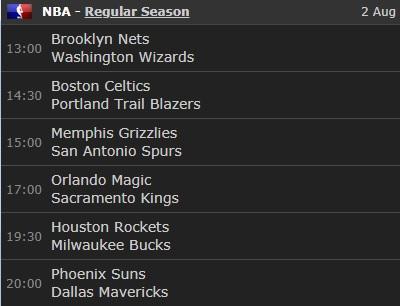 SUNDAY, AUGUST 2nd, 2020.  Wizards. Vs.  Nets. 1:00 PM (Col.). Trail Blazers. Vs. Celtics. 2:30 PM (Col.). Spurs. Vs. Grizzlies. 3:00 PM (Col.). Kings. Vs. Magic. 5:00 PM (Col.). Bucks. Vs. Rockets. 7:30 PM (Col.). Mavericks. Vs. Suns. 8:00 PM (Col.). 2019 - 2020 NBA, REG.SEASON. https://t.co/m1dnOwrfU8