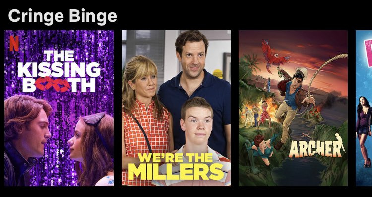 RT @LEM0NCOW: NETFLIX HAS A CRINGE BINGE SECTION AND THEY ADDED THEIR OWN MOVIE I CANT- https://t.co/Nuwmw6nzgV