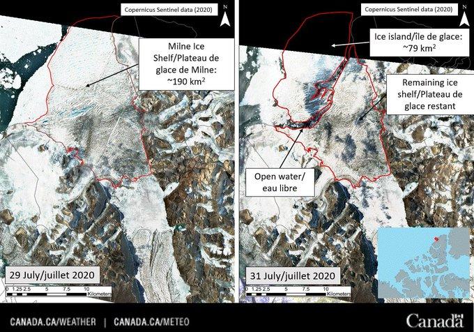 La última plataforma de hielo intacta de Canadá acaba de colapsar, formando un i