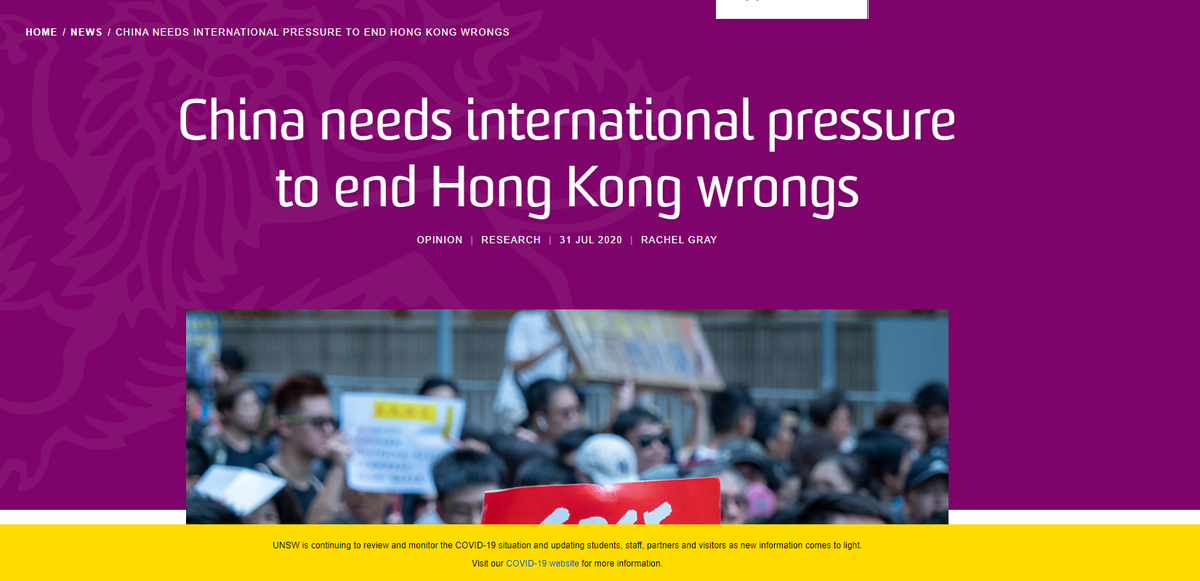 THREAD: I'm belatedly weighing in on a recent @UNSW article on Hong Kong which quotes me. I am an adjunct lecturer in law @UNSW as well as the Australia Director @hrw. law.unsw.edu.au/news/china-nee…