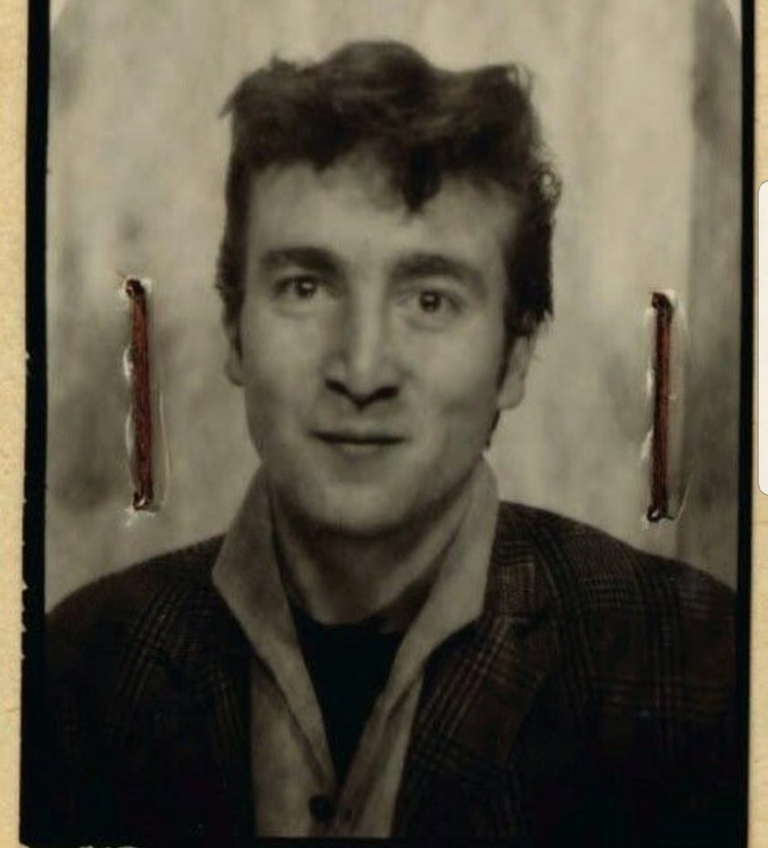 ID picture of #JohnLennon from hos passport, 1960 #TheBeatles
