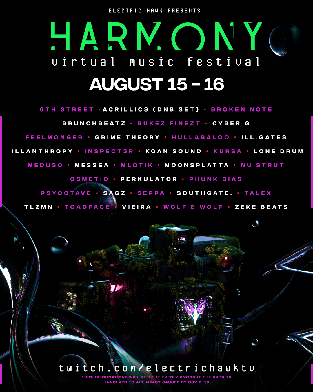 Electric Hawk Harmony Virtual Music Festival Live Stream Lineup