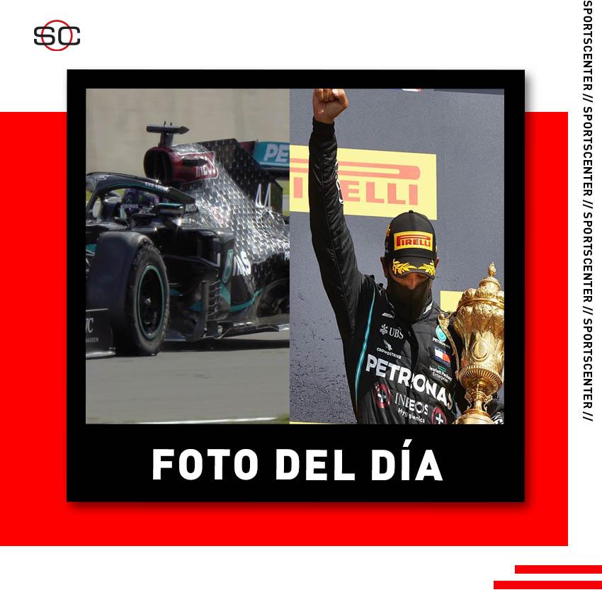 La #FotoDelDía se la lleva el gran Lewis Hamilton, quién ganó el #BritishGP y terminó la carrera con un neumático roto y el final fue realmente apasionante en Silverstone. #F1xESPN. https://t.co/JCshf90ytv