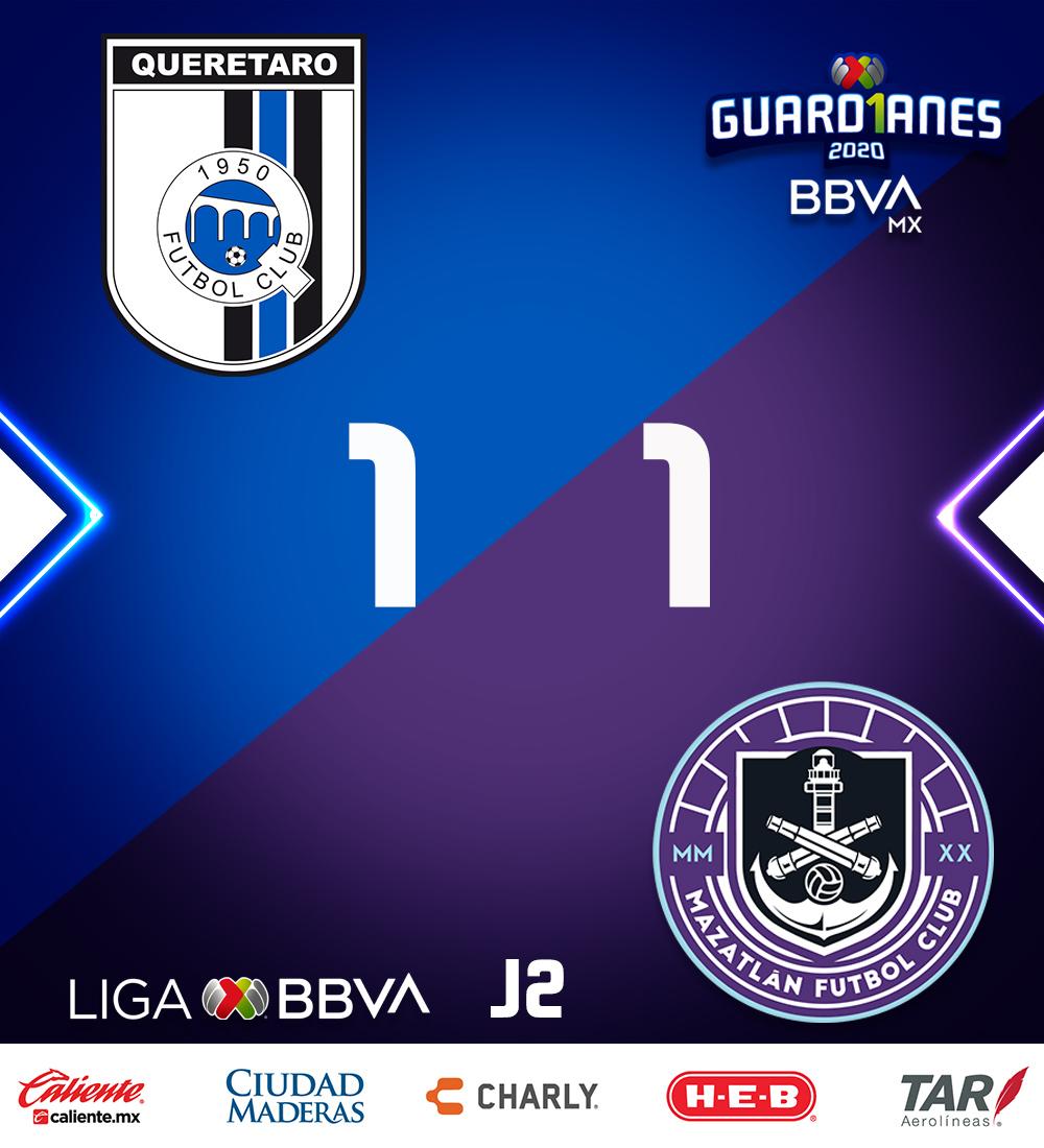 ¡ARREBATAN EL EMPATE!  Al minuto 88, Mario Osuna anota para darle empate a un gol en La Corregidora. Mazatlán se lleva el primer punto del #Guard1anes2020 y en su historia.  #Jornada2 ⚽ #LigaBBVAMX 🐓 https://t.co/ujvCVGw3hy