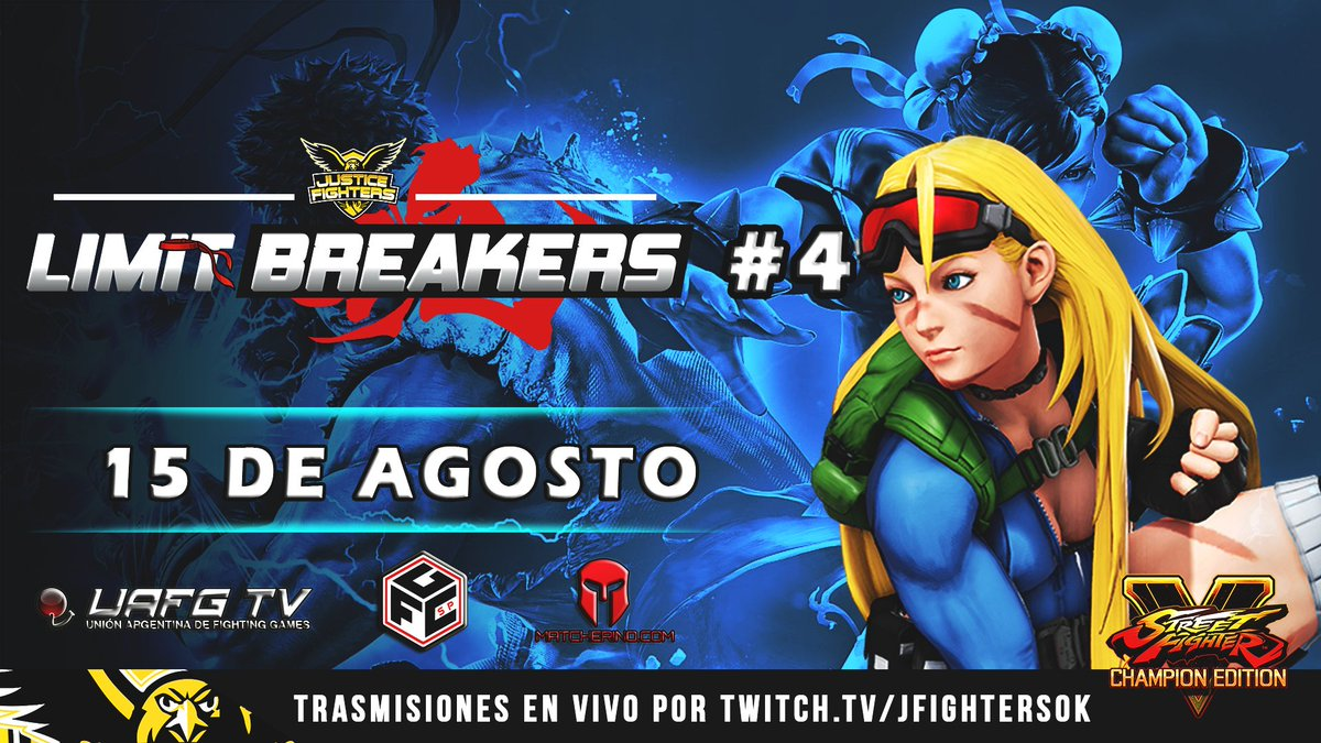 Registro abierto para #LimitBreakers4 Argentina Pro Tour!   📝https://t.co/BneYhgMNgm 📆15 de Agosto  ⏰ 10:00pm🇦🇷  📺https://t.co/zrSUC3Zf7I  (Solo TOP8 11:00pm)   Organiza: @napoleon_canno @JFightersOk  Apoyan: @UAFG_AR @fgcsaopaulo @matcherino_ @CrowkicksAR   #SFVCE #SF5 #GoJF https://t.co/6JrDIIcbq7