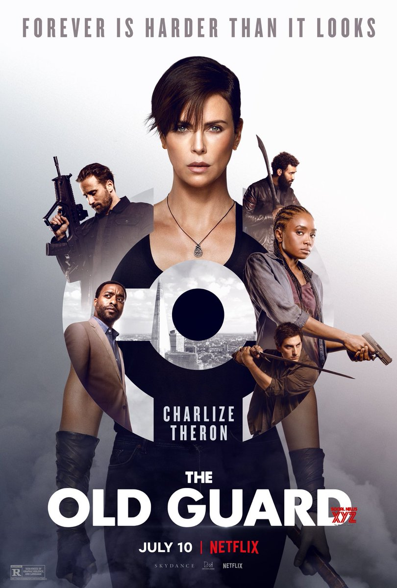 """Charlize Theron's acting and action chops muster enough oomph to get Netflix's """"The Old Guard"""" over the just-another-shoot-'em-up hump.  7 out of 12 Tamales  #TheOldGuard #CharlizeTheron #Netflix #Movie #Movies #KikiLayne #HarryMelling #GinaPrinceBythewood #ActionMovie #Action pic.twitter.com/WsTWMKwkuA"""