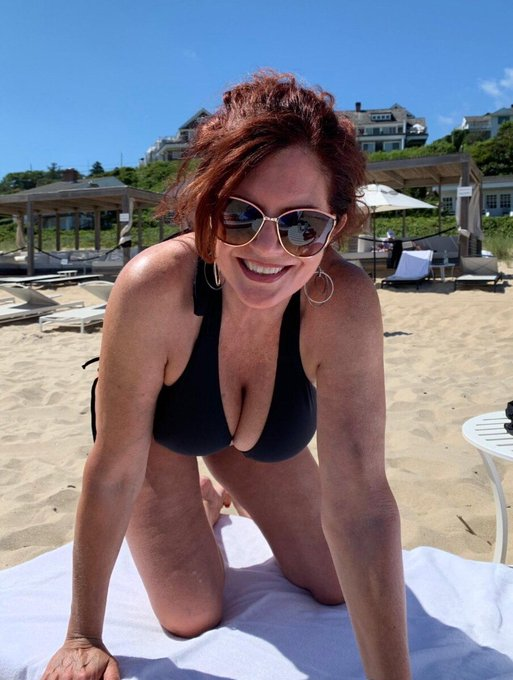 1 pic. #AndiJames #BlackBikini #OceanLife 🌊☀️🌴🧜🏼♀️ How are the views? Ever have a red headed mermaid