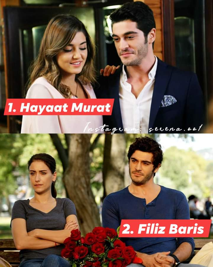 Ustedes deciden gente: ¿Cuál pareja fue su favorita?   : Hayat y Murat : Filiz y Baris   @_denizburak  #HandeErcel #BurakDeniz #HazalKaya #AskLaftanAnlamaz #AmorDeFamilia #BizimHikaye | foto sacada de @/selena.eel | pic.twitter.com/LK8cyhUGbn