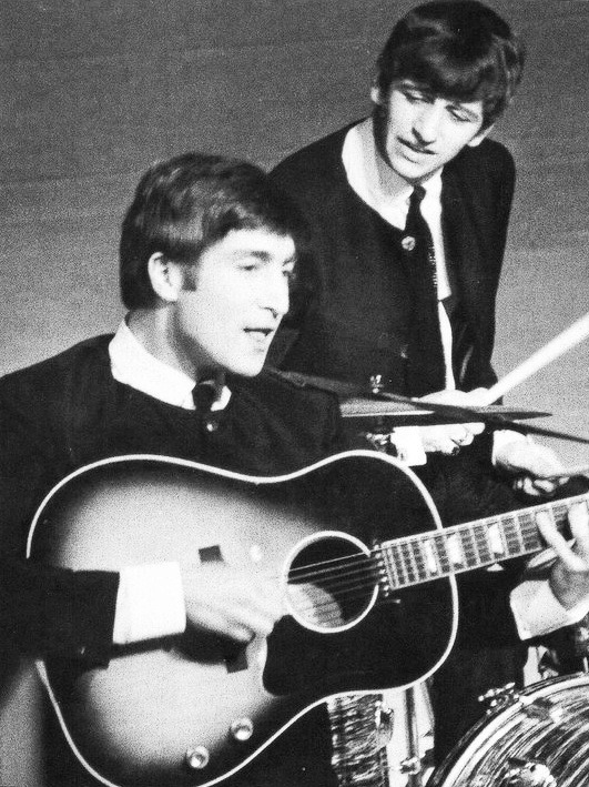 John and Ringo performing at a TV show in 1963 #TheBeatles