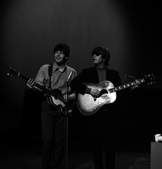 Paul and John rehearsing for a TV show in 1964 #TheBeatles