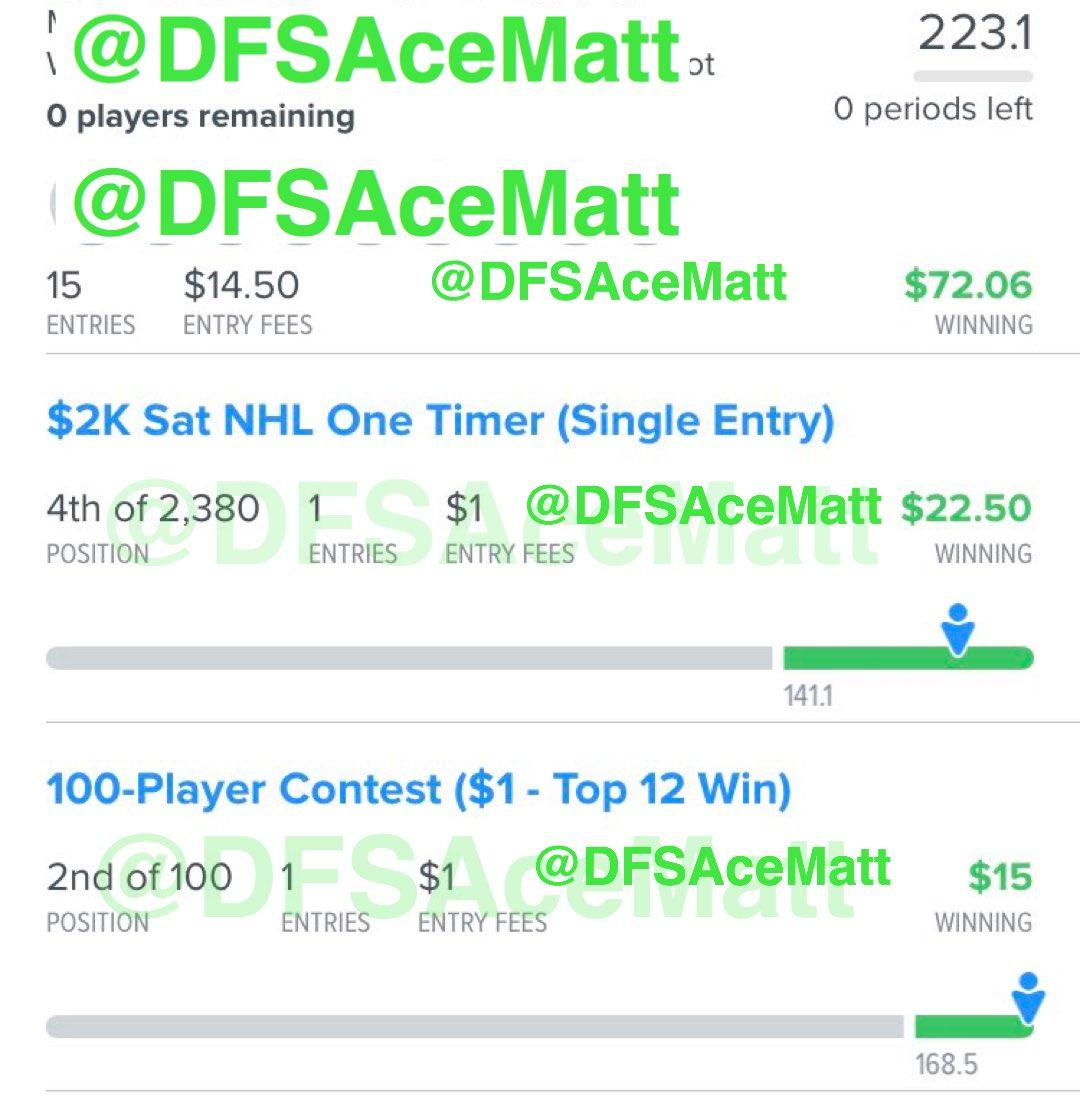 Saturday, Aug. 1 Cash Screeenshot #7  #NHL #DFS #DailyFantasySports #FanDuel#DraftKings#SportsBettingpic.twitter.com/RmXhxsZYHl