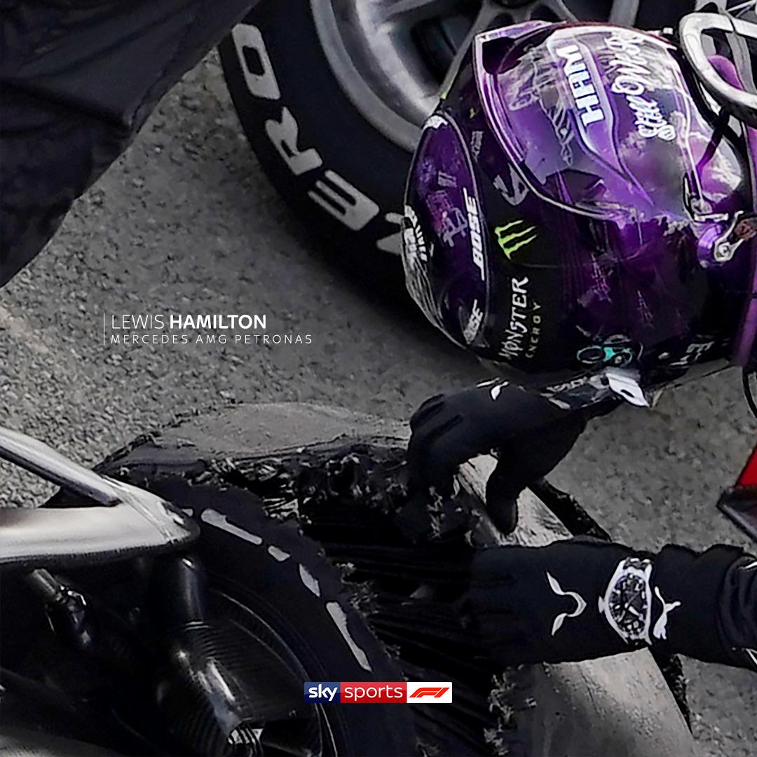The remains of Lewis Hamilton's front left tyre. 😳  #SkyF1   #F1   #BritishGP 🇬🇧 https://t.co/LImQ7kXtu5