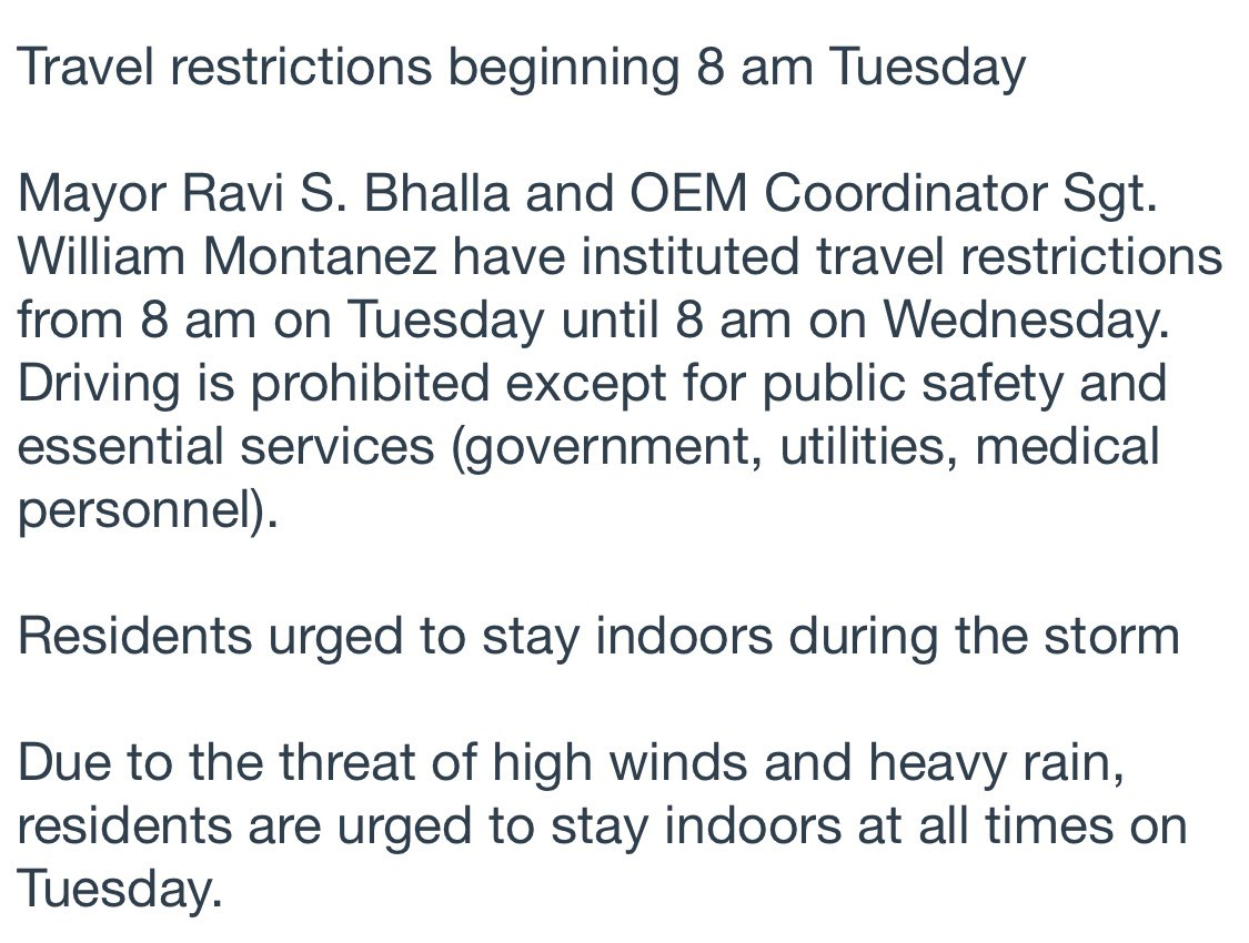 """Yeah ok Ravi. Over rain that the @NWS_MountHolly is calling a marginal risk.  But """"travel restrictions!""""   I've never seen someone so prone to hysteria as @RaviBhalla It's almost like his alarmism is a leadership ploy to make residents think he's actually doing something.pic.twitter.com/bYTHBMjMHT"""