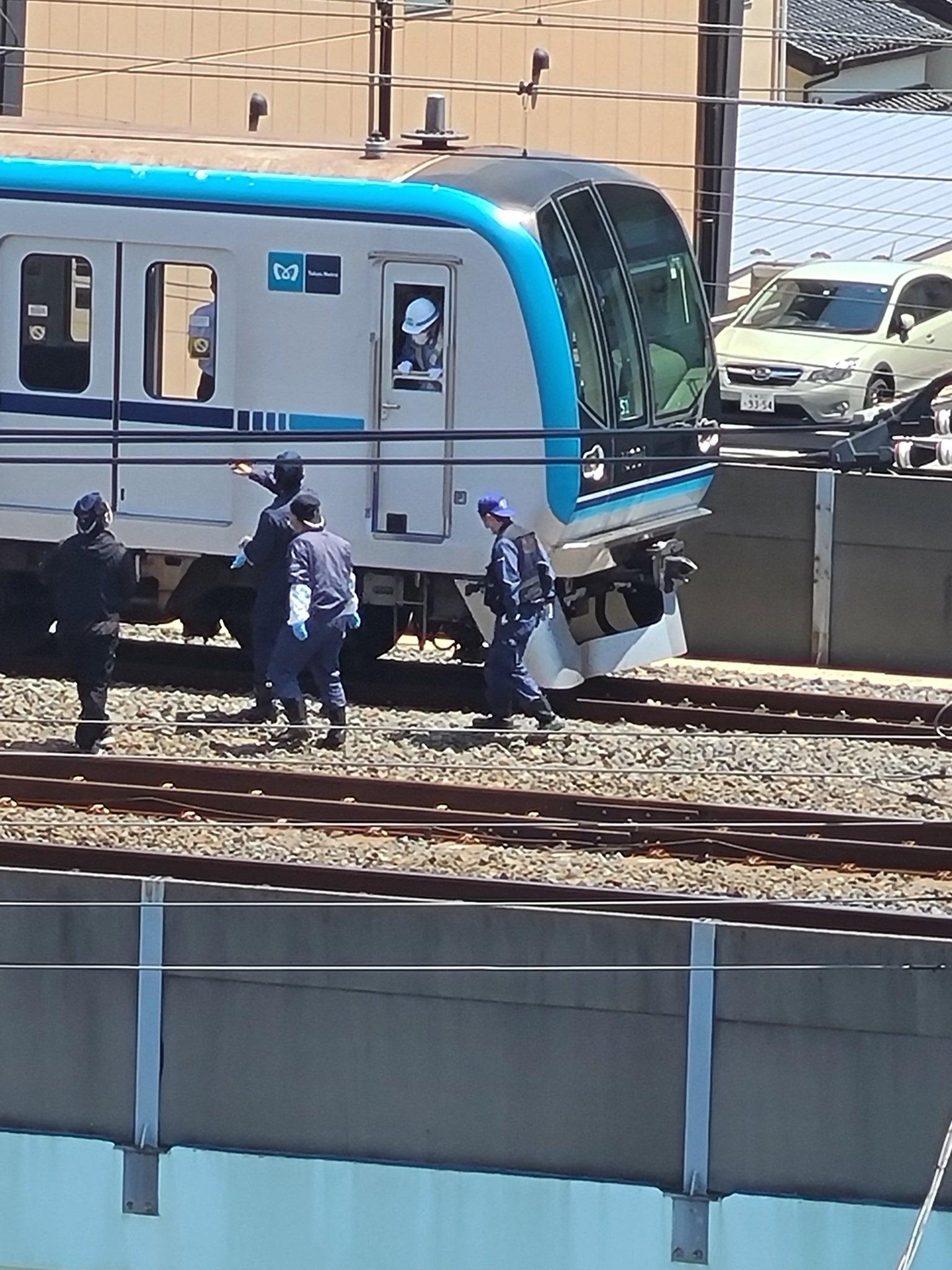 東京メトロ東西線の妙典駅の人身事故現場の画像