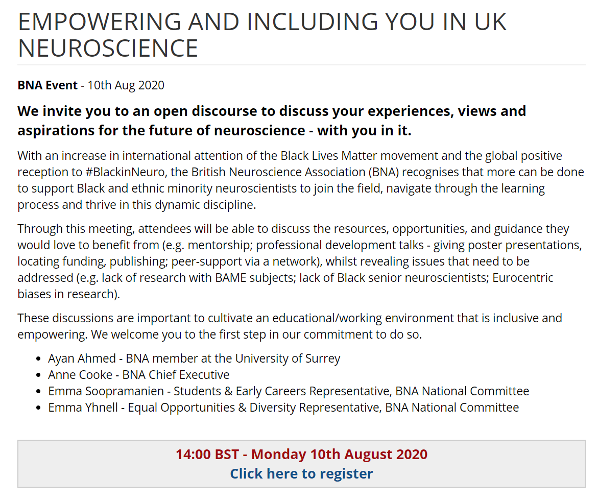 Share your experiences, views & aspirations for the future of neuroscience - with you in it! . With attention focused via #BlackLivesMatter & #BlackinNeuro, we invite your views on how to support Black & ethnic minority neuroscientsts in the UK.   Register https://buff.ly/39KrVNTpic.twitter.com/OyhPSV7B9F