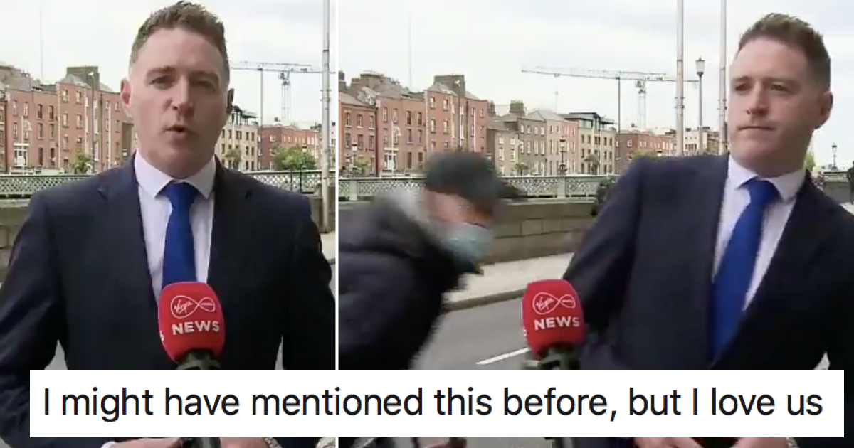 This Irish TV news interruption was perfect comic timing (via @Ciara87C) https://t.co/TBxrJtxbFJ https://t.co/zv0Yfh6Zlf