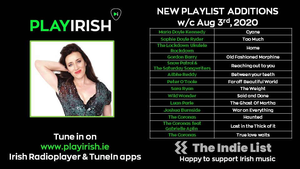 Looking for something to do for the BH? Check out a bunch of new tunes just added to #PLAYIRISH today:@mariadkennedy @luanparle @snowpatrol @JoshuaBurnside @sophiedoyler @PeterOToole3 @ailbhereddy @Sararyanmusic #wildwonder #lockdownukuelerockdown & album of the wk @TheCoronas pic.twitter.com/M5eb0ZwIl9