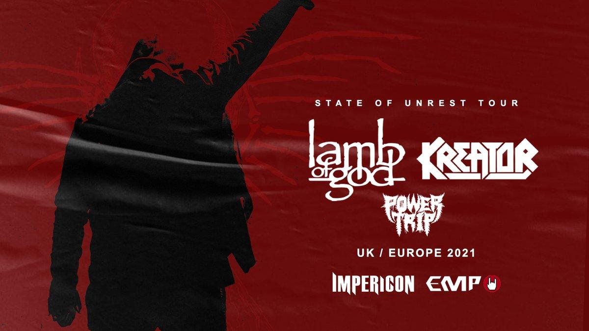 Tickets voor @lambofgod & @Kreator - 'The State of Unrest Tour' op zondag 12 december 2021 zijn NU verkrijgbaar!  Scoor ze hier:  https://t.co/5ppH6JbXkL https://t.co/D7FEYBjXhA