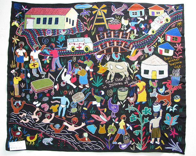 Hand embroidered tapestry by the women of the Mapula Embroidery Group in the Winterveld, South Africa #womensart