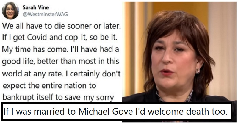 Our 11 favourite reactions to Sarah Vine's callous coronavirus comment. https://t.co/AxueVQphVb https://t.co/gFX6hW0R4i