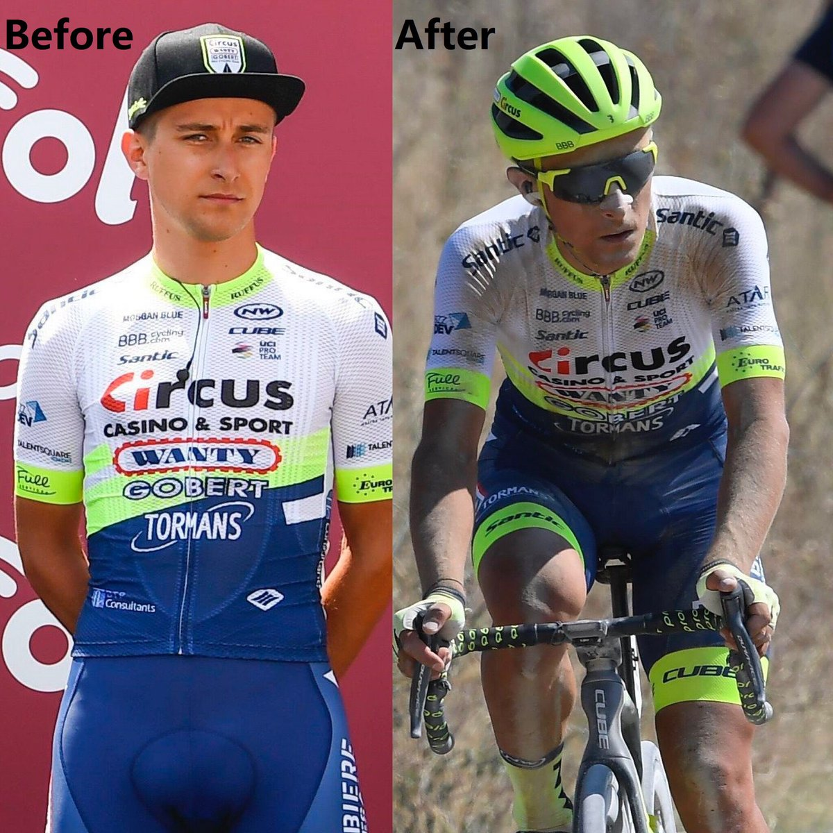 Before VS After #stradebianche 2020. If I didn't join in the race, I am still a good, decent, clean man https://t.co/jKwfE1tnKB