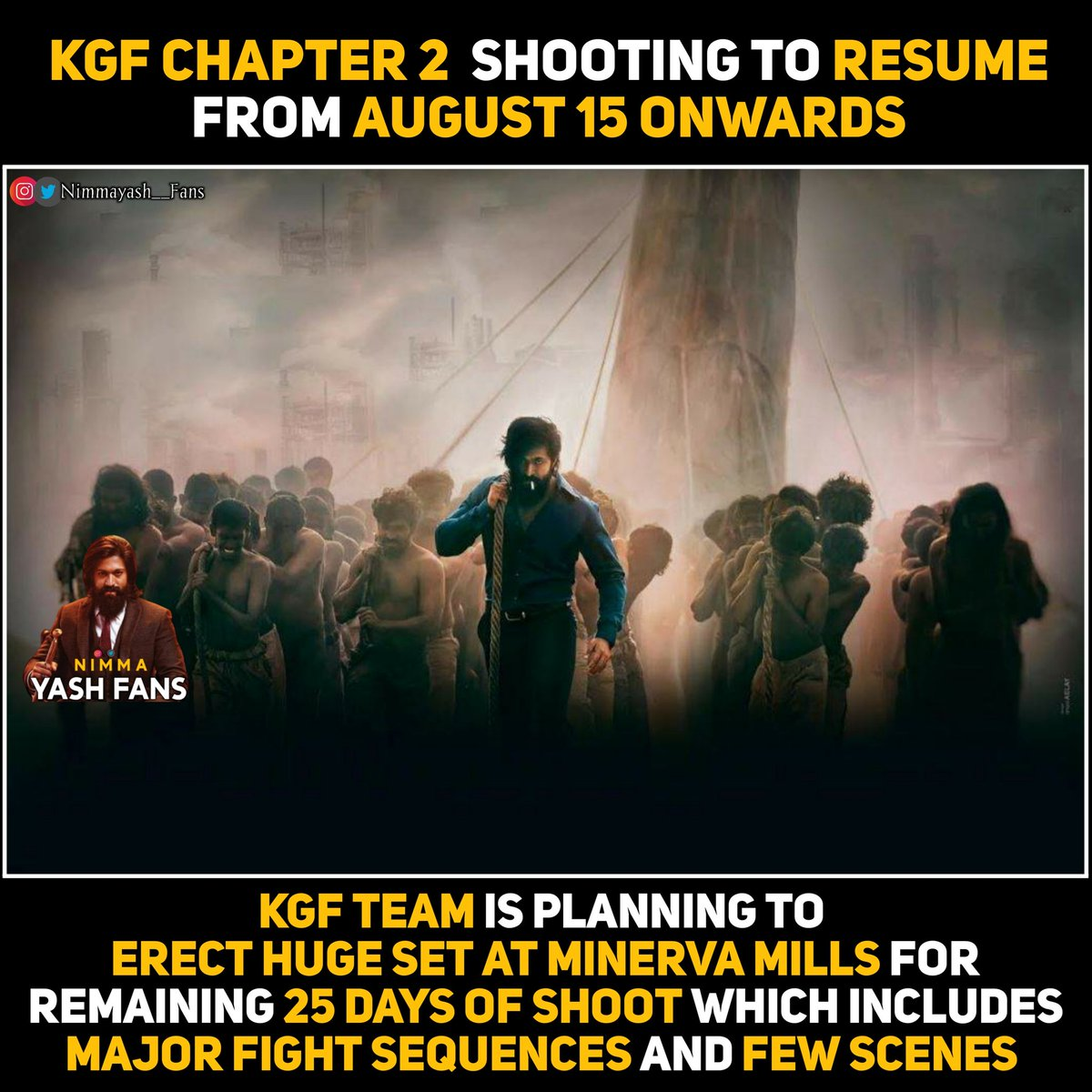 #KGFChapter2 Shooting Resume From August 15 Onwards.. Keeping Promotions and other factors Release date may be postponed  Follow :- @nimmayash__fans Follow :- @nimmayash__fans #yash #YashBoss #SpreadYASHism #KGFChapter2 #KGF2 #Adheera #KGF #karthikgowda #PrashanthNeel #ROCKYpic.twitter.com/rgnnhcdzyO