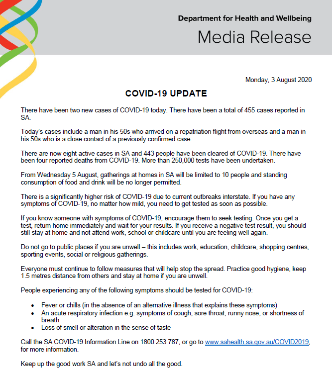 Sa Health On Twitter South Australian Covid 19 Update 03 08 20 For More Information Go To Https T Co Mynzsgpayo Or Contact The South Australian Covid 19 Information Line On 1800 253 787 Https T Co Pziczndhgr