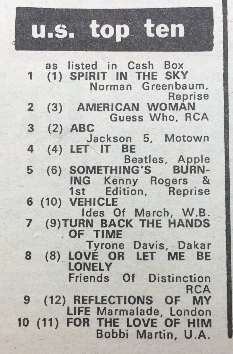 USA SINGLES CHART TOP 10  MELODY MAKER MARCH 1970 #1 NORMAN GREENBAUM @NormanGreenbaum @Jacksons @titojackson5 @michaeljackson @thebeatles @BeatlemaniaUK @BeatlesArchive2 @BeatleHeadlinespic.twitter.com/TvDcpHJQg5