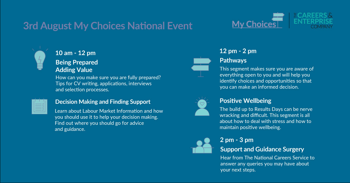 Today is the day! - #MyChoices online event for school and college leavers who are deciding on their next steps...starts at 10am @lancslep @inspiraforlife @BwDnewdirection @BlackpoolOA @LancashireCC @Lancs_Colleges @lancsfutureu  #InspiringLancashire