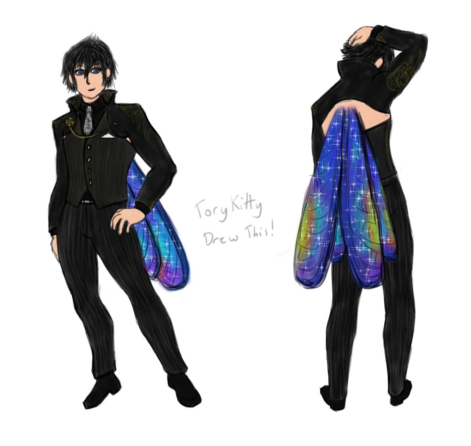 Suit design for fairy-winged Noct from the Colony Verse. I'm very proud of how it came out! #ffxv #noctis #myart #NoctisLucisCaelum pic.twitter.com/BBfC2xoirK