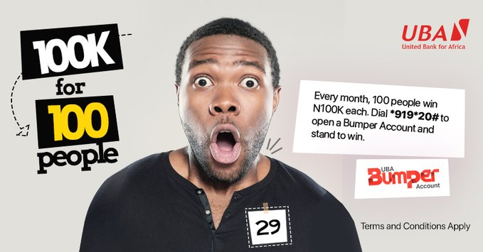 24 hours till the #UBABumperAccount draw!! 100 lucky customers are about to win N100,000 each!  You can dial *919*20# to open a Bumper Account or dial *919*20*1# to migrate your savings account. Remember the more N5,000 you save, the more your chances of winning. #UBACares https://t.co/0zeEgHb7vs