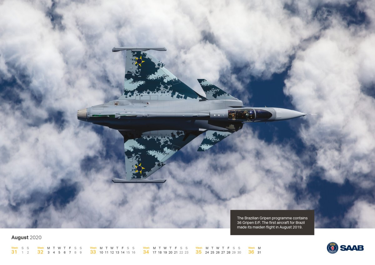 In August 2019, the first Gripen E for the Brazilian Air Force made its maiden flight. What a lovely memory and a perfect calendar image of the month. Photo: Linus Svensson #smartfighter #airforce #aviation Download this image here: bit.ly/30XfZUU