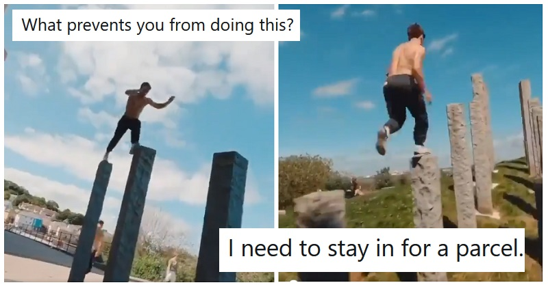 Simply 22 hilarious responses to this hair-raising freerunning video. https://t.co/LsjIYoeEvK https://t.co/hMFufYGSMG