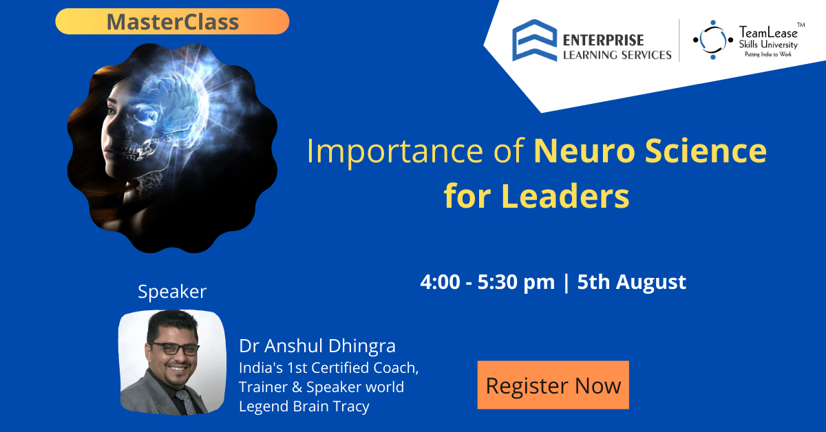 Announcing the MasterClass on Importance of NeuroScience for Leaders. By @AnshulDhingraAD  India's 1st Certified Coach, Trainer & Speaker world Legend Brian Tracy. Stay Tuned.  Remember the date: 5th August   4:00 pm to 5:30 pm Register Now! https://lnkd.in/gr7BtB9  #MasterClasspic.twitter.com/Orf2xYSNqc