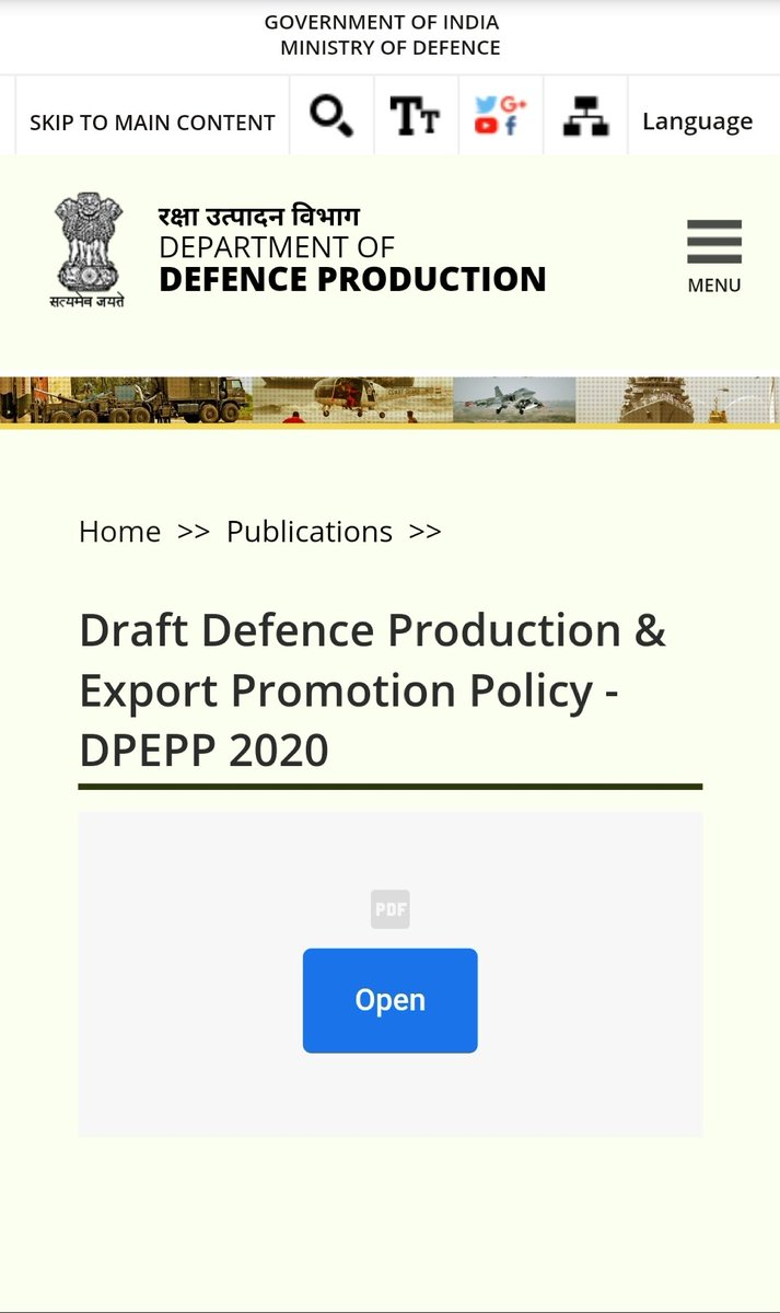 MoD releases draft Defence Production and Export Promotion Policy 2020 pib.gov.in/PressReleseDet…